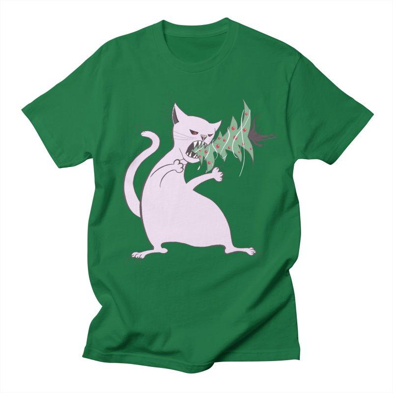 White Fat Cat Eats Christmas Tree Men's T-Shirt by Boriana's Artist Shop
