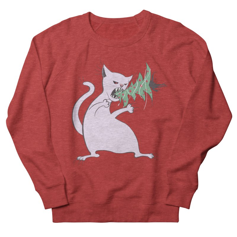 White Fat Cat Eats Christmas Tree Men's Sweatshirt by Boriana's Artist Shop