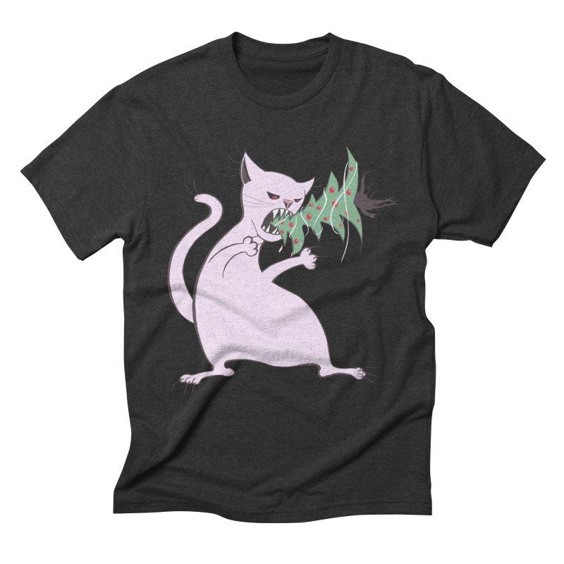 White Fat Cat Eats Christmas Tree Men's Triblend T-Shirt by Boriana's Artist Shop