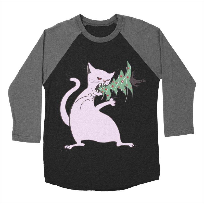 White Fat Cat Eats Christmas Tree Women's Baseball Triblend Longsleeve T-Shirt by Boriana's Artist Shop
