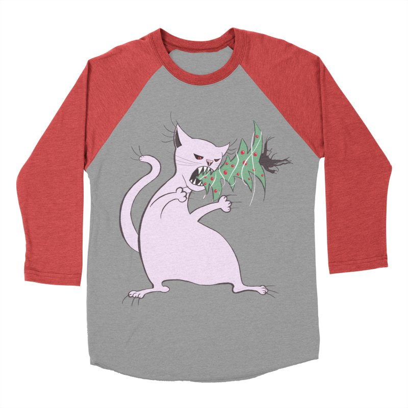 White Fat Cat Eats Christmas Tree Men's Baseball Triblend T-Shirt by Boriana's Artist Shop