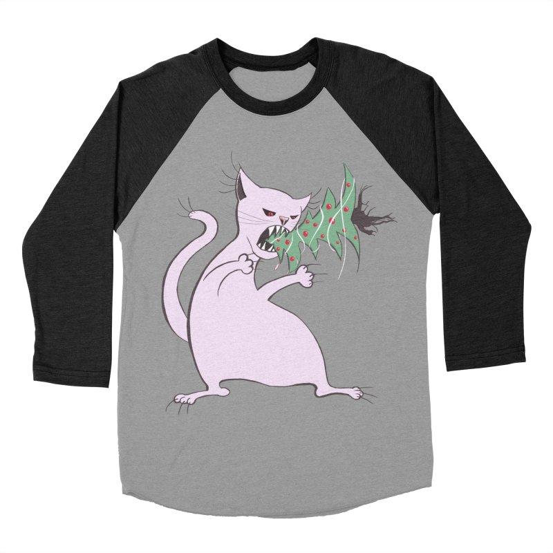 White Fat Cat Eats Christmas Tree Men's Baseball Triblend T-Shirt by Boriana's Artist Shop