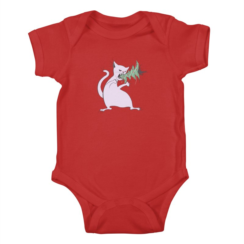 White Fat Cat Eats Christmas Tree Kids Baby Bodysuit by Boriana's Artist Shop