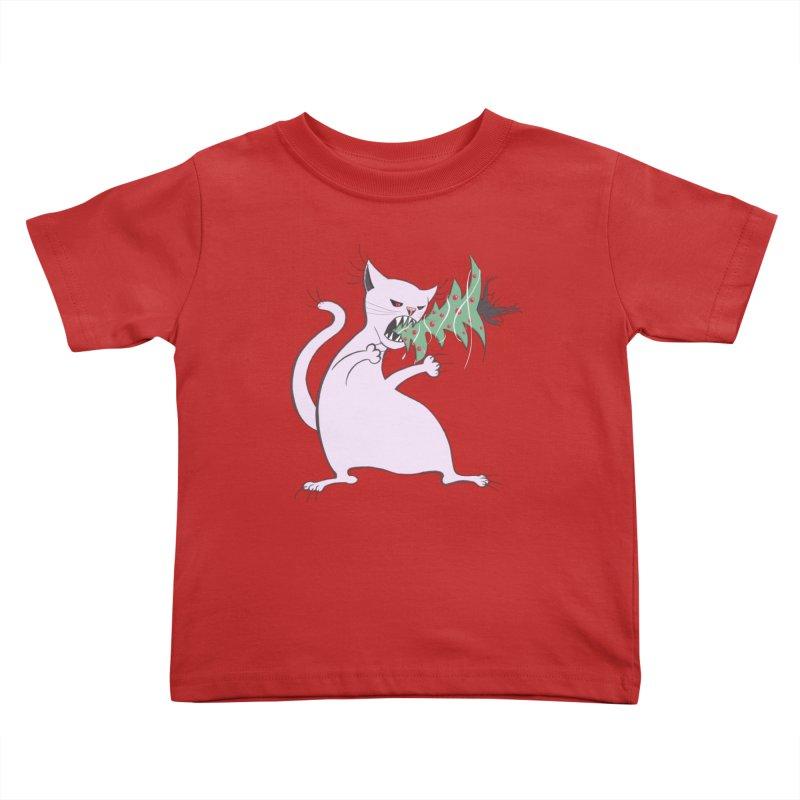 White Fat Cat Eats Christmas Tree Kids Toddler T-Shirt by Boriana's Artist Shop