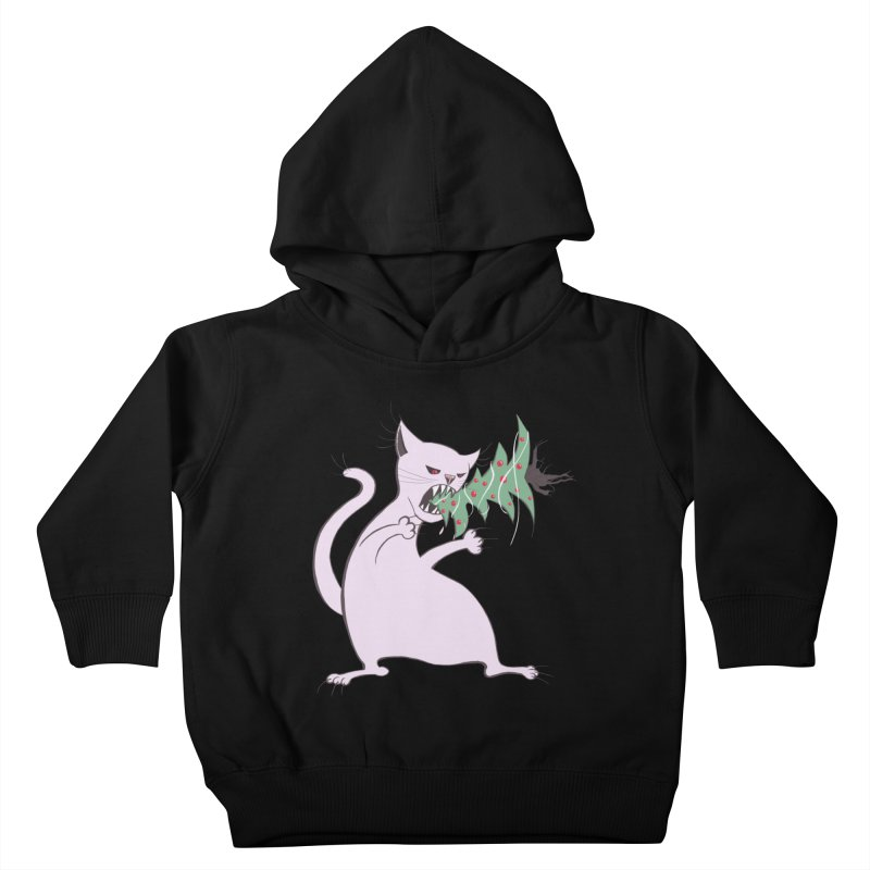 White Fat Cat Eats Christmas Tree Kids Toddler Pullover Hoody by Boriana's Artist Shop