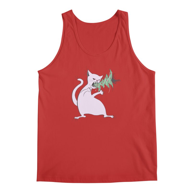 White Fat Cat Eats Christmas Tree Men's Tank by Boriana's Artist Shop