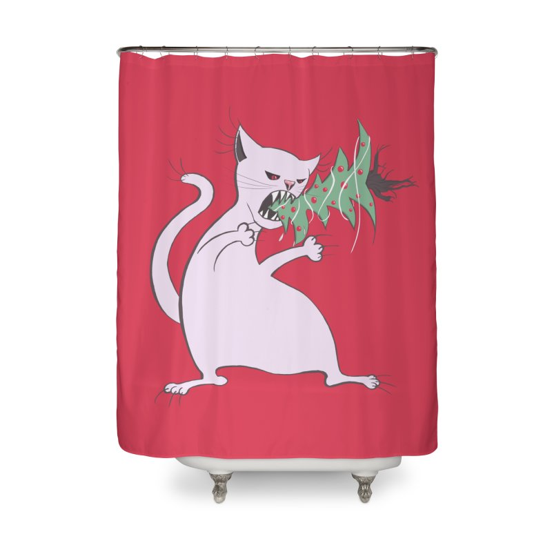White Fat Cat Eats Christmas Tree Home Shower Curtain by Boriana's Artist Shop