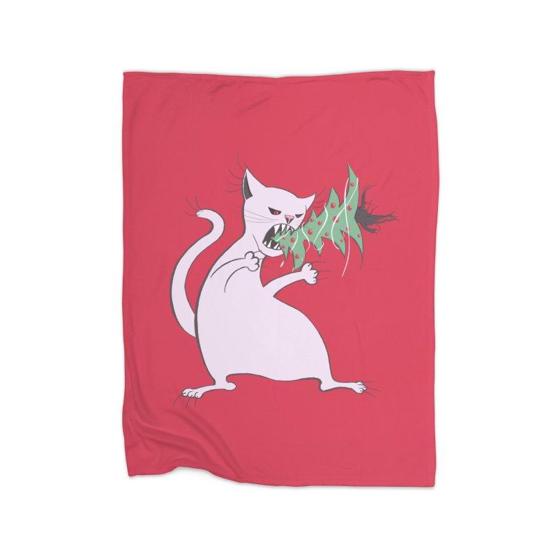 White Fat Cat Eats Christmas Tree Home Blanket by Boriana's Artist Shop