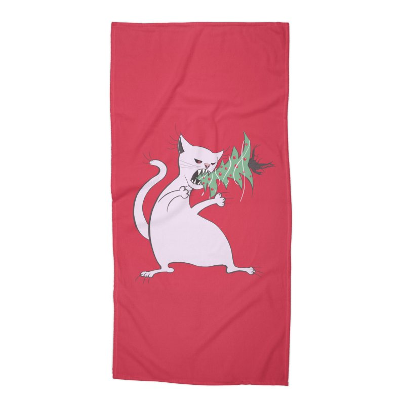 White Fat Cat Eats Christmas Tree Accessories Beach Towel by Boriana's Artist Shop
