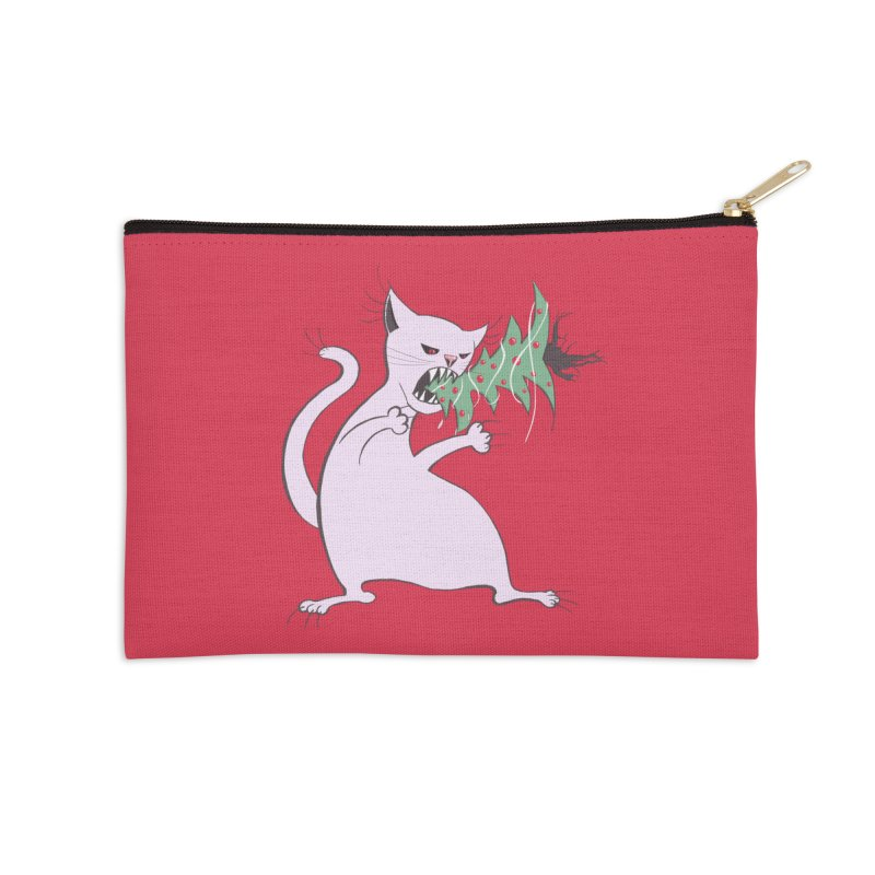 White Fat Cat Eats Christmas Tree Accessories Zip Pouch by Boriana's Artist Shop