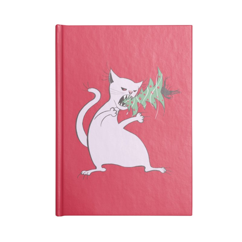 White Fat Cat Eats Christmas Tree Accessories Notebook by Boriana's Artist Shop