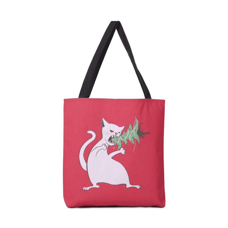 White Fat Cat Eats Christmas Tree Accessories Bag by Boriana's Artist Shop