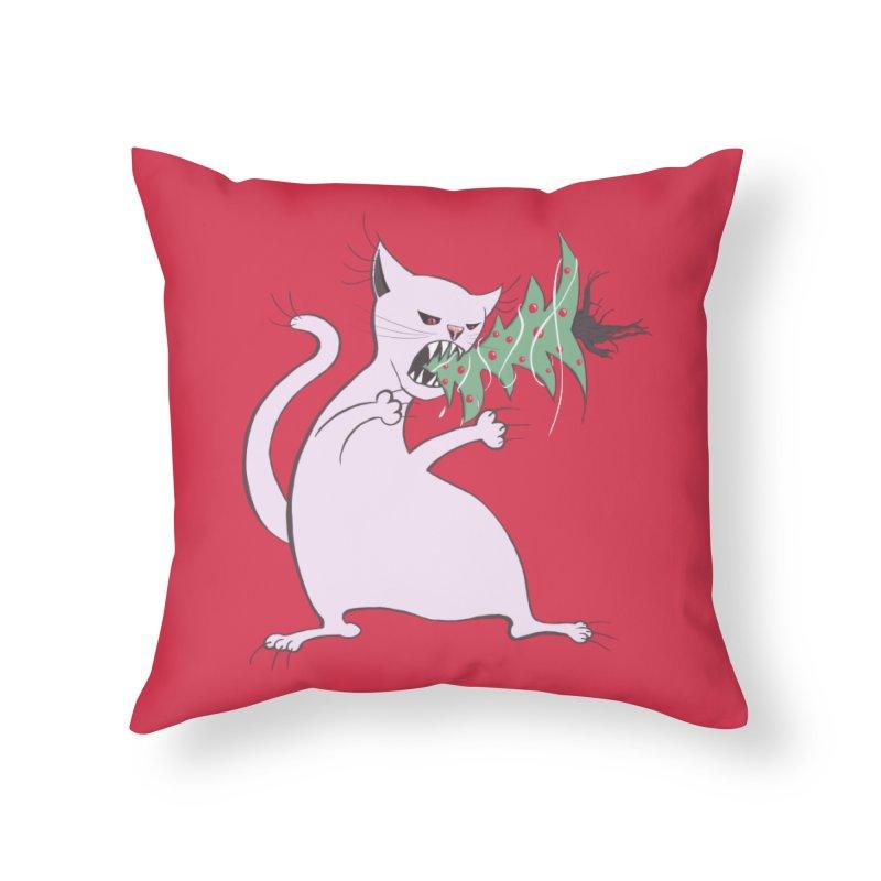 White Fat Cat Eats Christmas Tree Home Throw Pillow by Boriana's Artist Shop