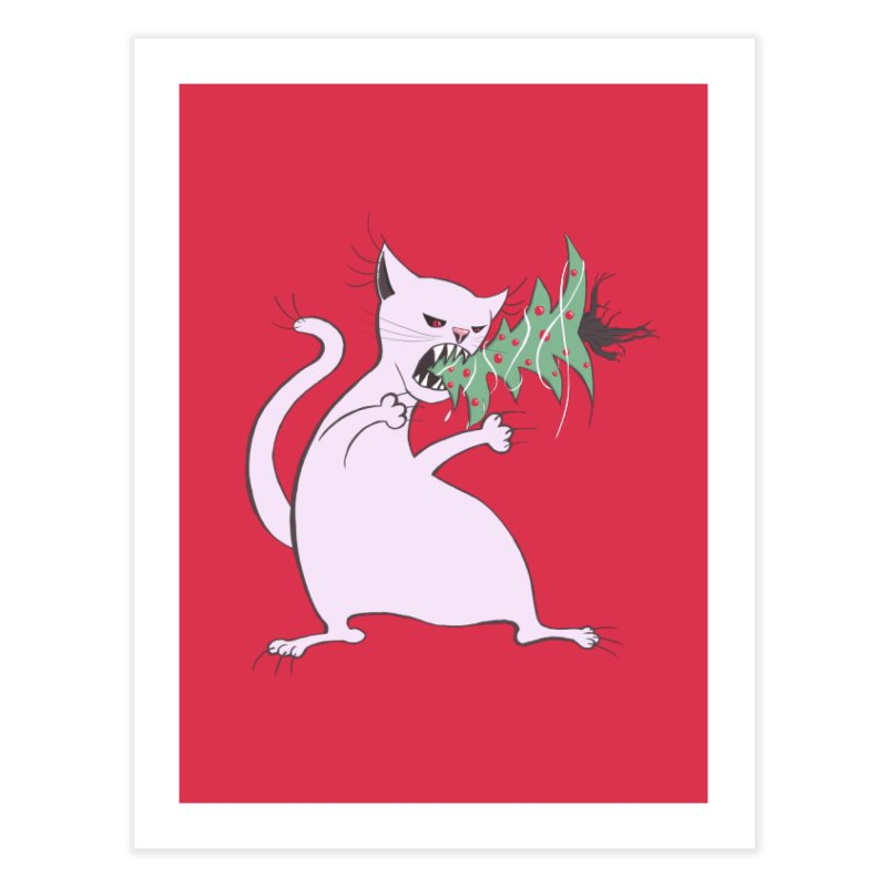 White Fat Cat Eats Christmas Tree Home Fine Art Print by Boriana's Artist Shop