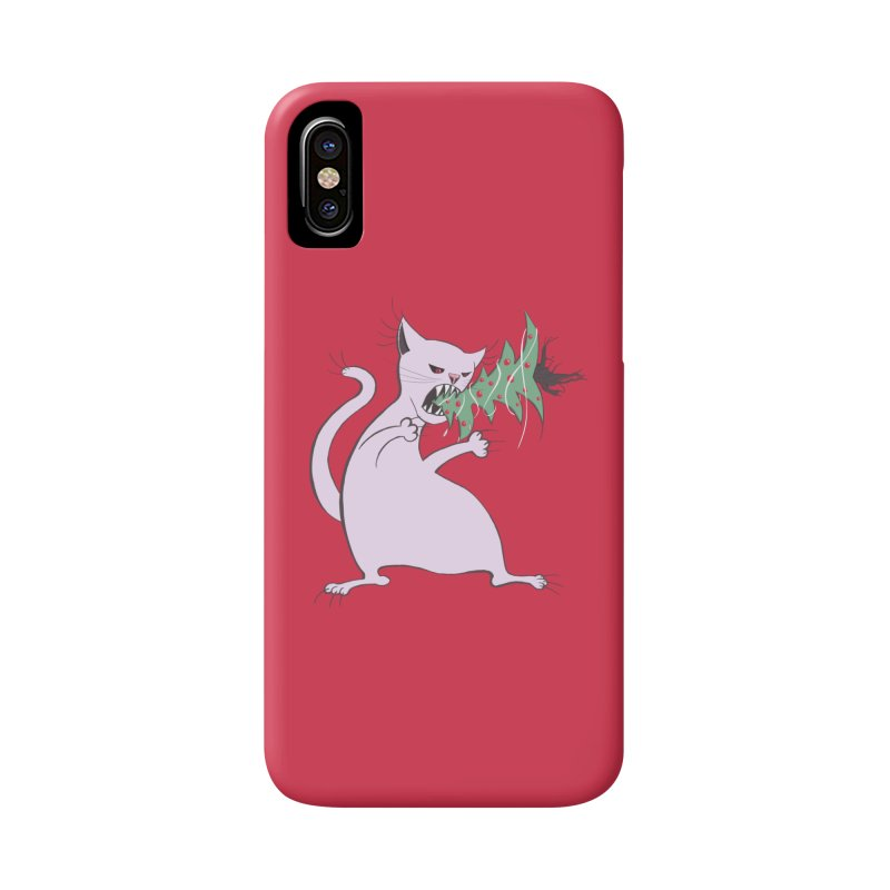 White Fat Cat Eats Christmas Tree Accessories Phone Case by Boriana's Artist Shop