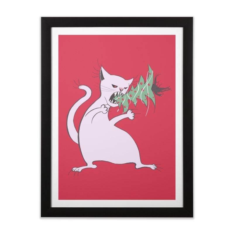 White Fat Cat Eats Christmas Tree Home Framed Fine Art Print by Boriana's Artist Shop