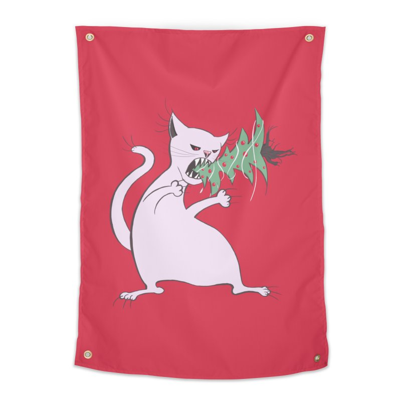 White Fat Cat Eats Christmas Tree Home Tapestry by Boriana's Artist Shop