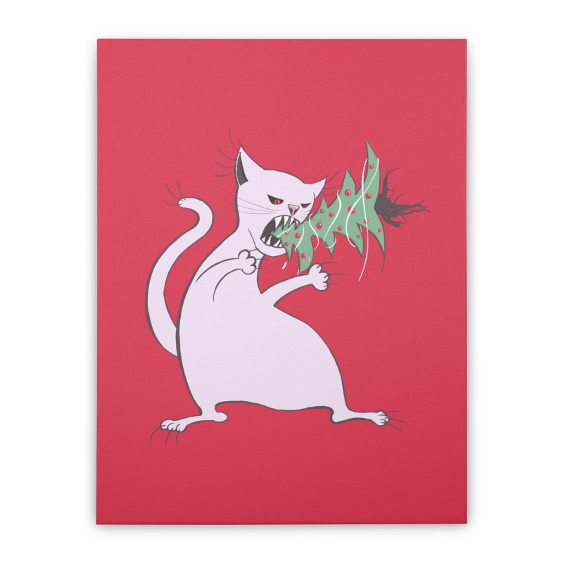 White Fat Cat Eats Christmas Tree Home Stretched Canvas by Boriana's Artist Shop