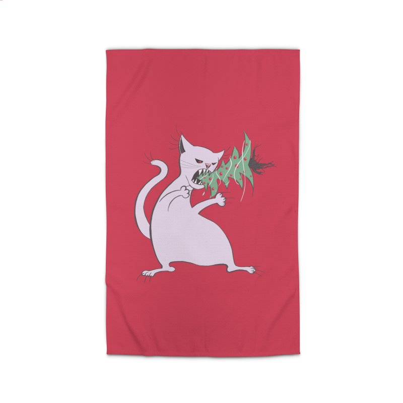 White Fat Cat Eats Christmas Tree Home Rug by Boriana's Artist Shop