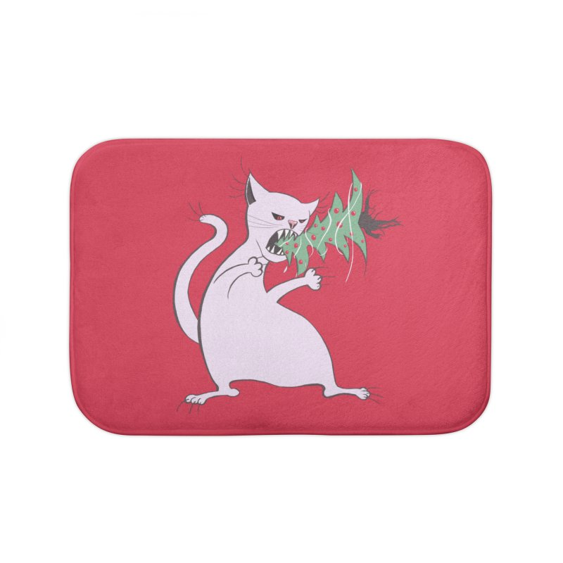 White Fat Cat Eats Christmas Tree Home Bath Mat by Boriana's Artist Shop