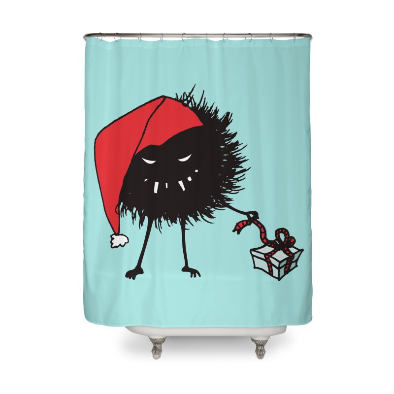 Evil Bug Unpacking Christmas Present Home Shower Curtain by Boriana's Artist Shop