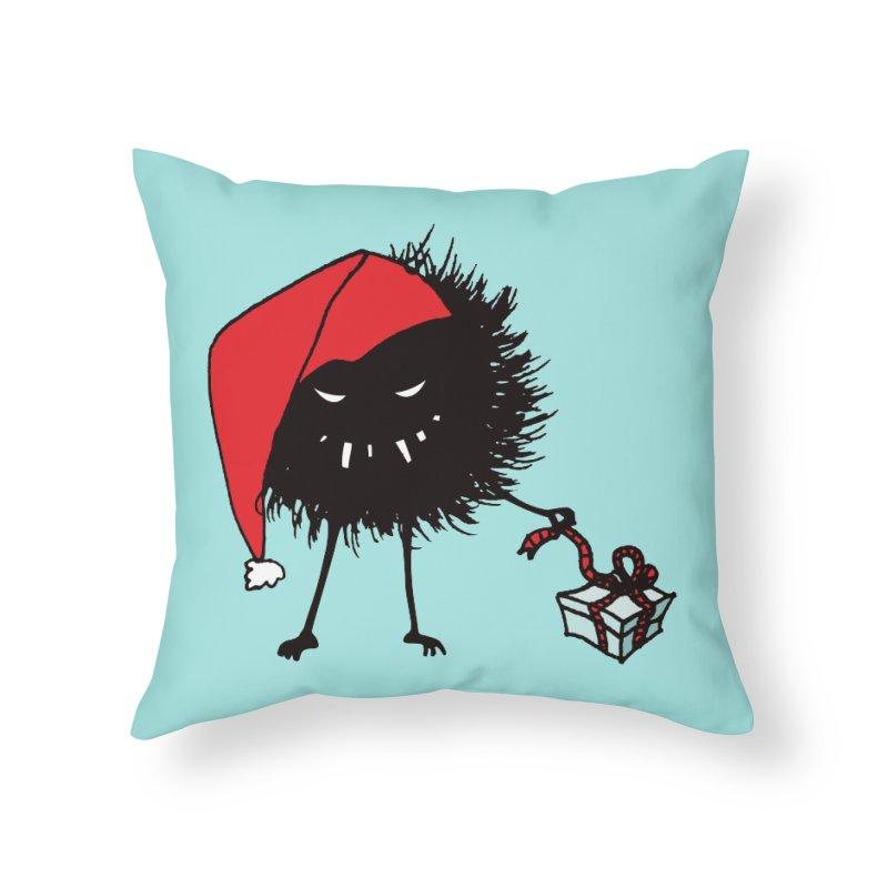 Evil Bug Unpacking Christmas Present Home Throw Pillow by Boriana's Artist Shop