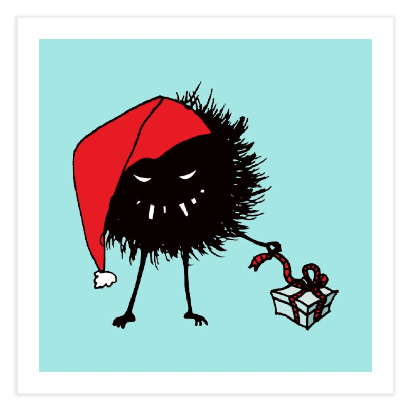 Evil Bug Unpacking Christmas Present Home Fine Art Print by Boriana's Artist Shop