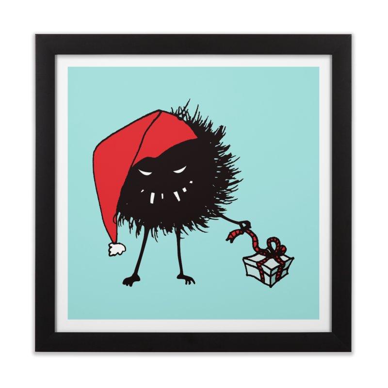 Evil Bug Unpacking Christmas Present Home Framed Fine Art Print by Boriana's Artist Shop