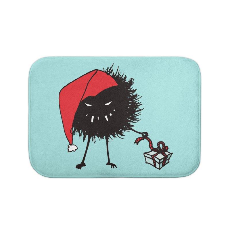 Evil Bug Unpacking Christmas Present Home Bath Mat by Boriana's Artist Shop