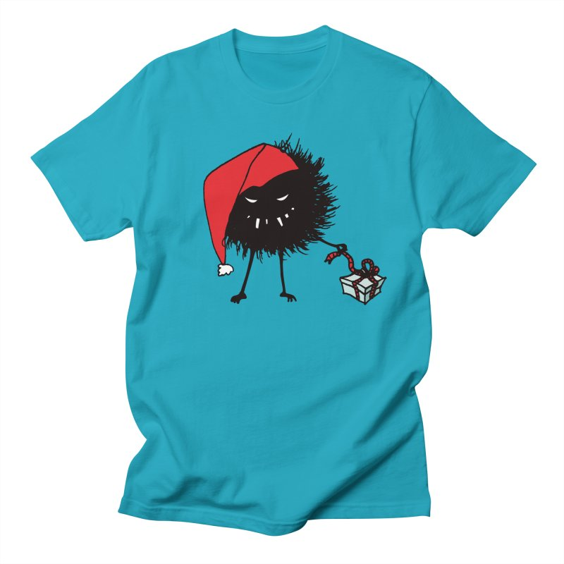 Evil Bug Unpacking Christmas Present in Men's T-Shirt Cyan by Boriana's Artist Shop