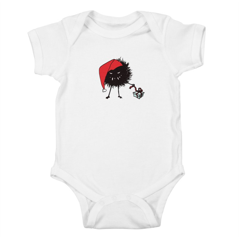 Evil Bug Unpacking Christmas Present Kids Baby Bodysuit by Boriana's Artist Shop