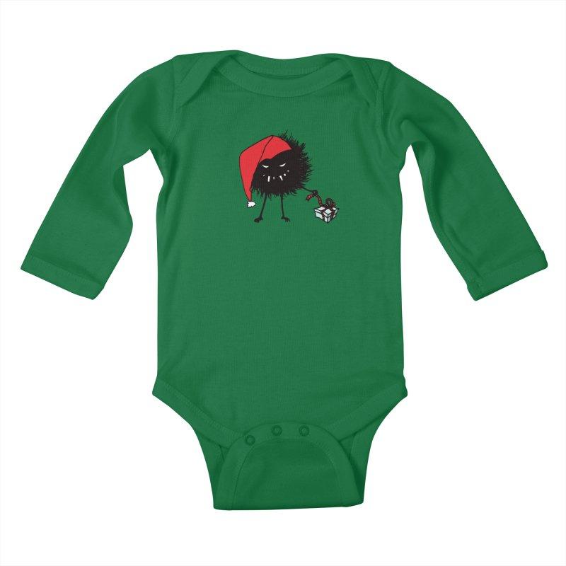 Evil Bug Unpacking Christmas Present Kids Baby Longsleeve Bodysuit by Boriana's Artist Shop