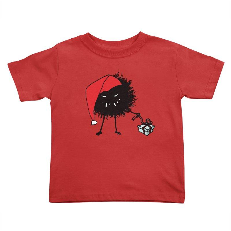 Evil Bug Unpacking Christmas Present Kids Toddler T-Shirt by Boriana's Artist Shop