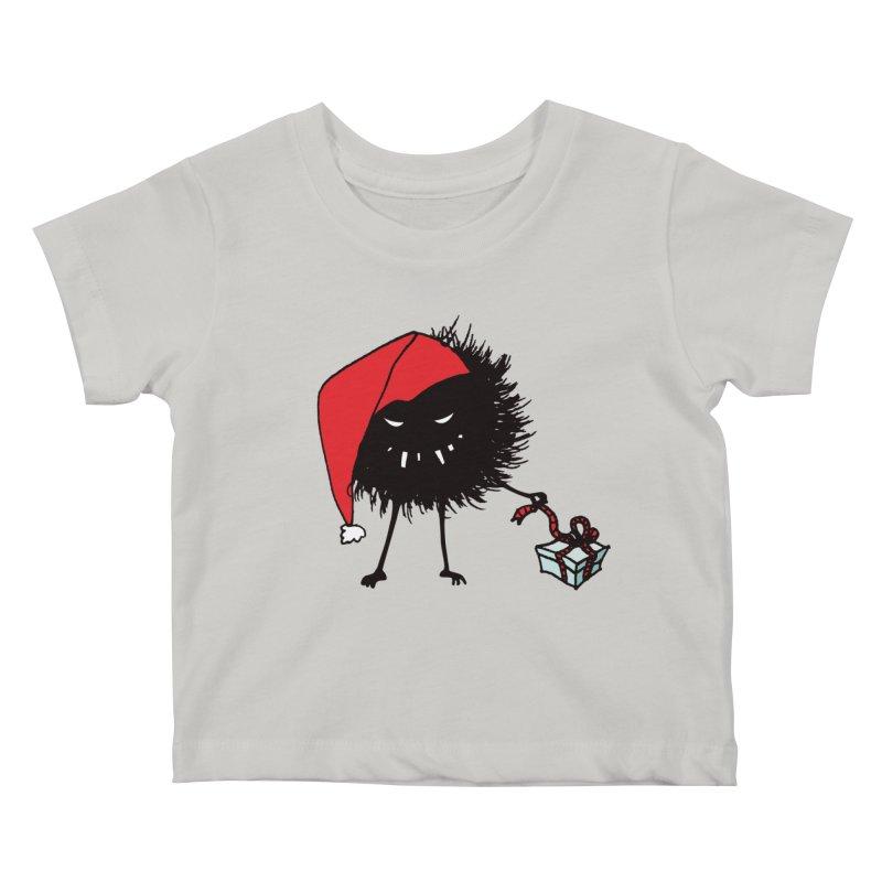 Evil Bug Unpacking Christmas Present Kids Baby T-Shirt by Boriana's Artist Shop