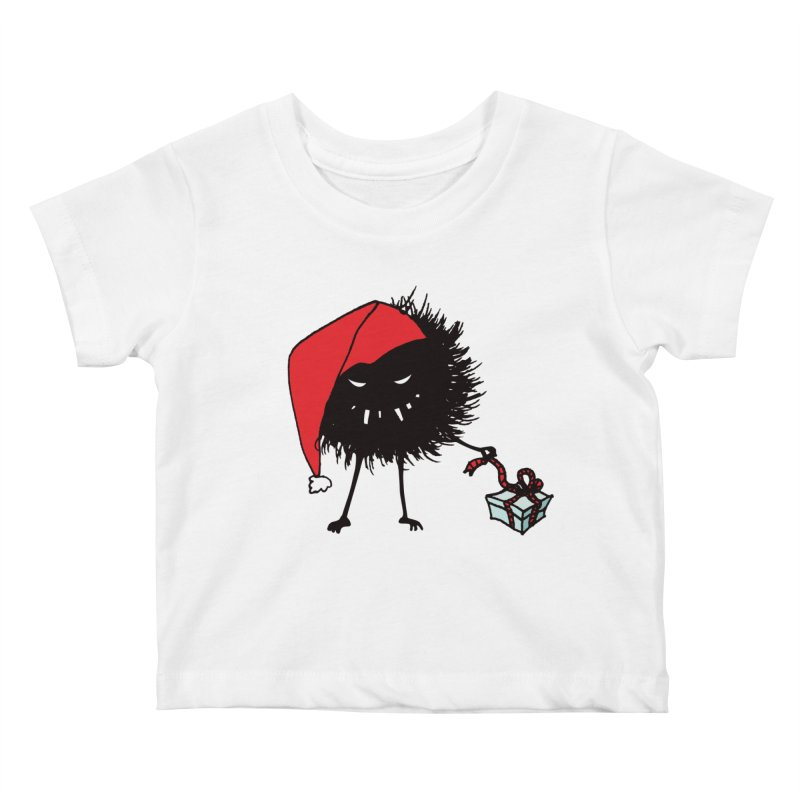 Evil Bug Unpacking Christmas Present Kids Baby T-Shirt by Boriana's Artist Shop