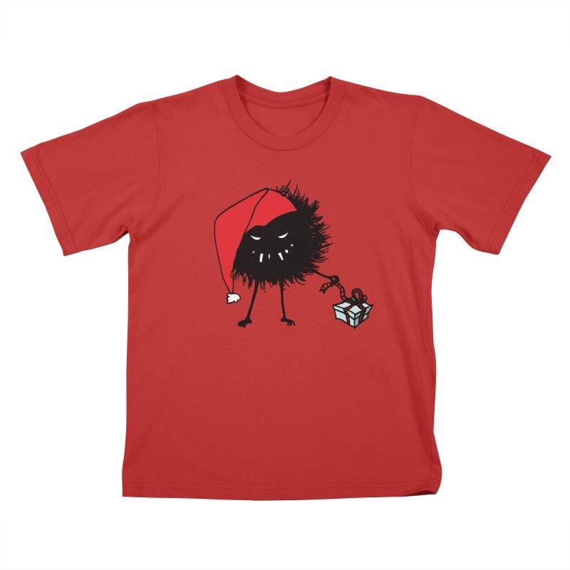 Evil Bug Unpacking Christmas Present Kids T-Shirt by Boriana's Artist Shop