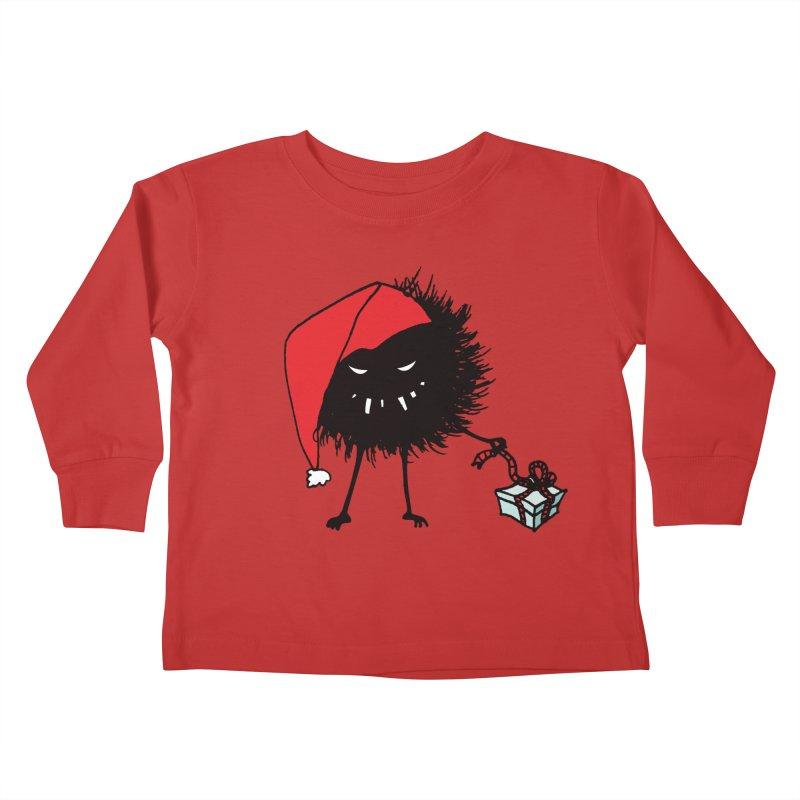 Evil Bug Unpacking Christmas Present Kids Toddler Longsleeve T-Shirt by Boriana's Artist Shop