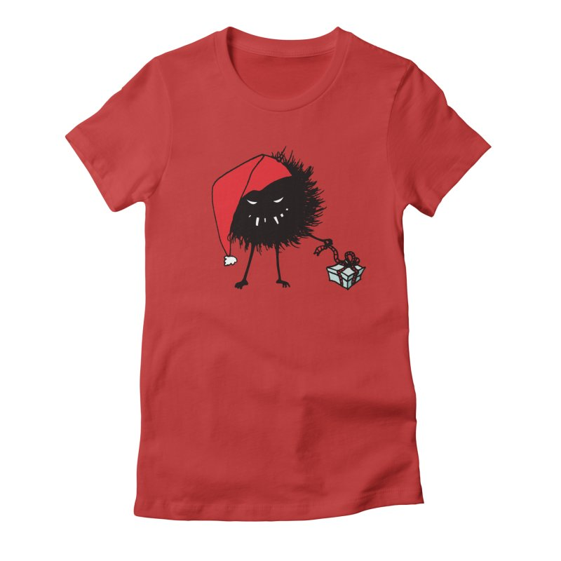 Evil Bug Unpacking Christmas Present Women's Fitted T-Shirt by Boriana's Artist Shop