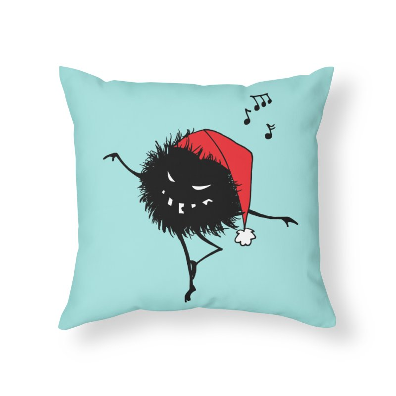 Dancing Evil Christmas Bug Home Throw Pillow by Boriana's Artist Shop