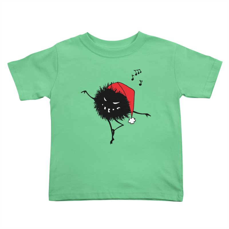 Dancing Evil Christmas Bug Kids Toddler T-Shirt by Boriana's Artist Shop