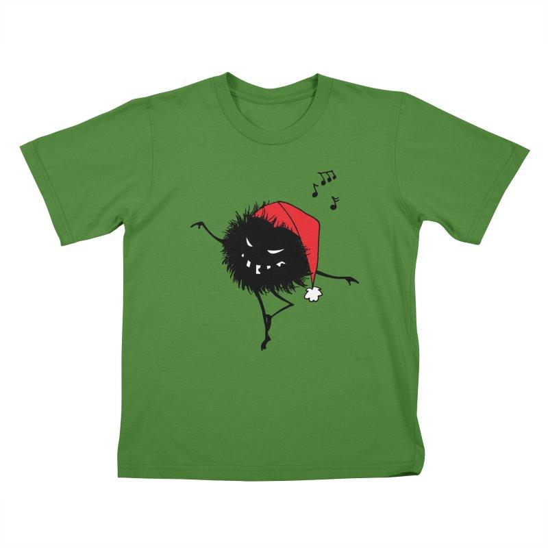 Dancing Evil Christmas Bug Kids T-Shirt by Boriana's Artist Shop
