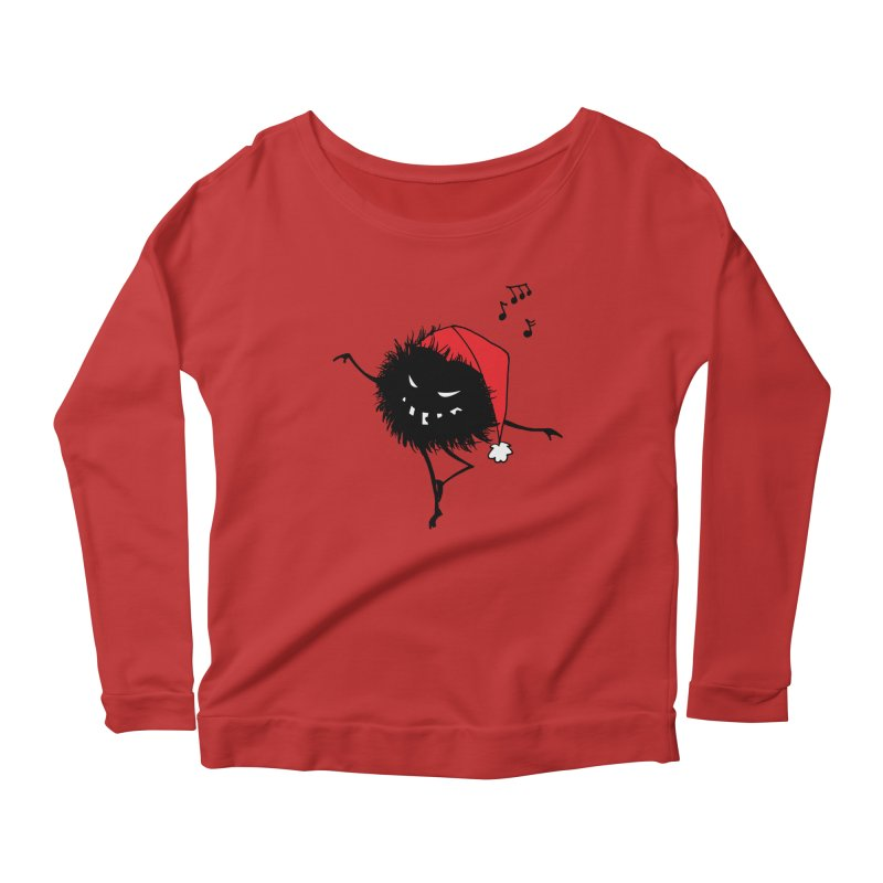 Dancing Evil Christmas Bug Women's Longsleeve Scoopneck  by Boriana's Artist Shop