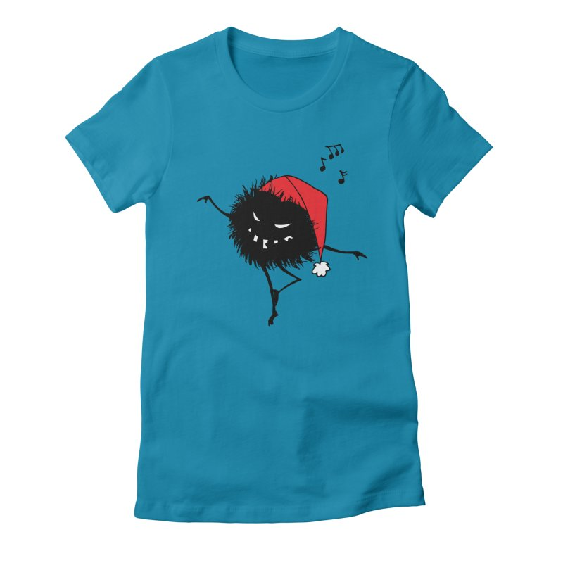Dancing Evil Christmas Bug Women's Fitted T-Shirt by Boriana's Artist Shop