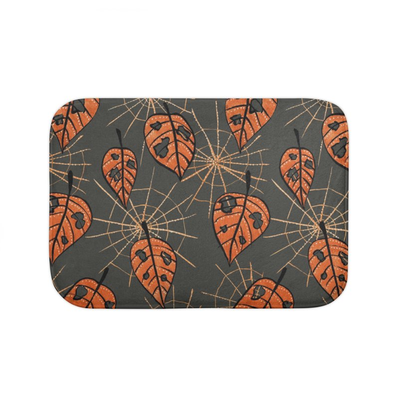 Orange Leaves With Holes And Spiderwebs Home Bath Mat by Boriana's Artist Shop