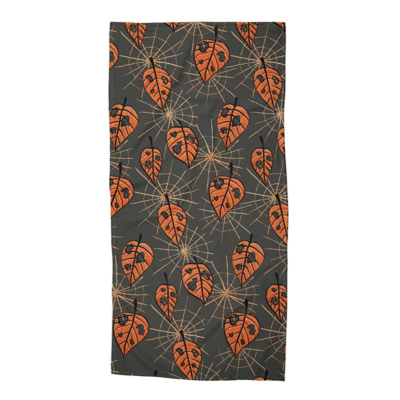Orange Leaves With Holes And Spiderwebs Accessories Beach Towel by Boriana's Artist Shop