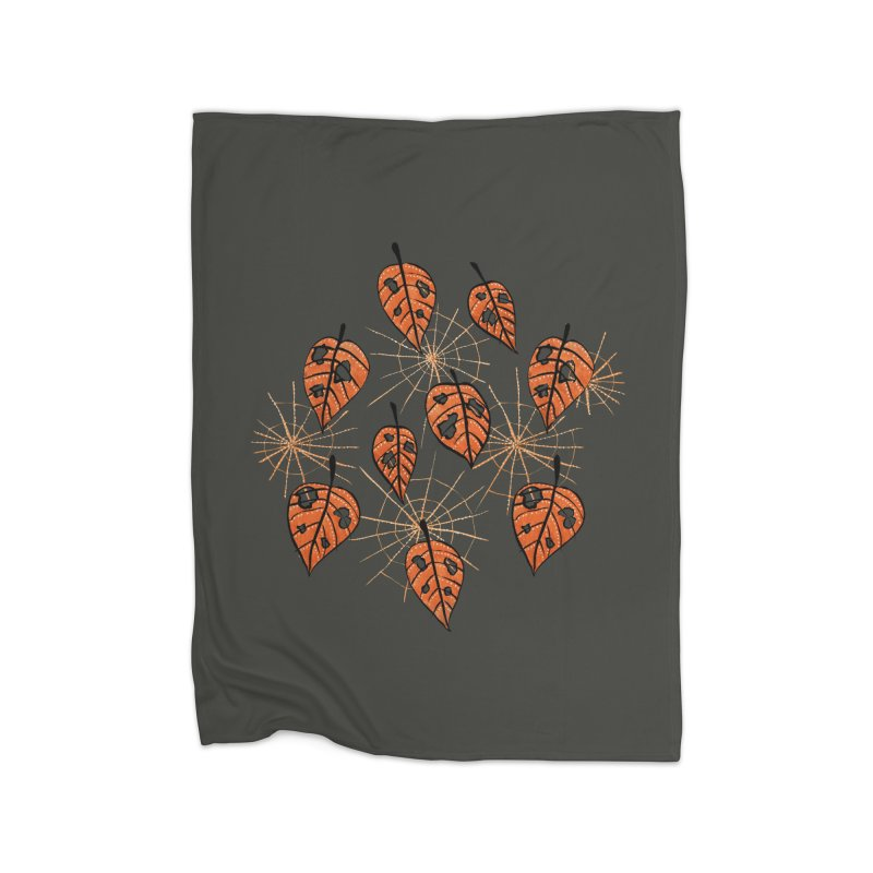 Orange Leaves With Holes And Spiderwebs Home Blanket by Boriana's Artist Shop