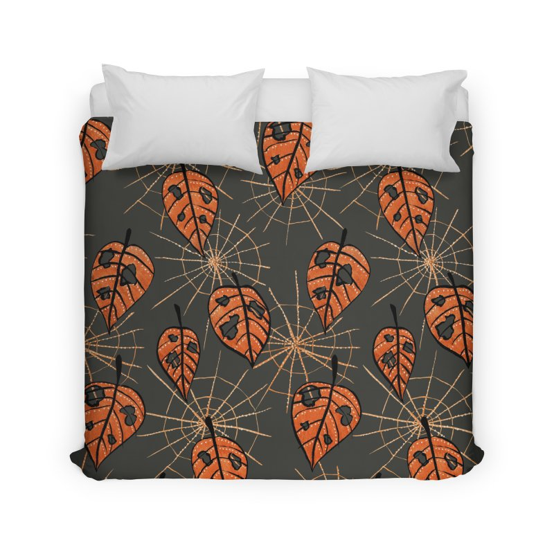 Orange Leaves With Holes And Spiderwebs Home Duvet by Boriana's Artist Shop