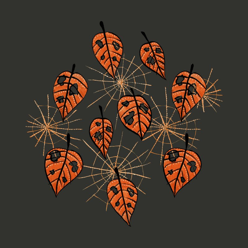 Orange Leaves With Holes And Spiderwebs by Boriana's Artist Shop