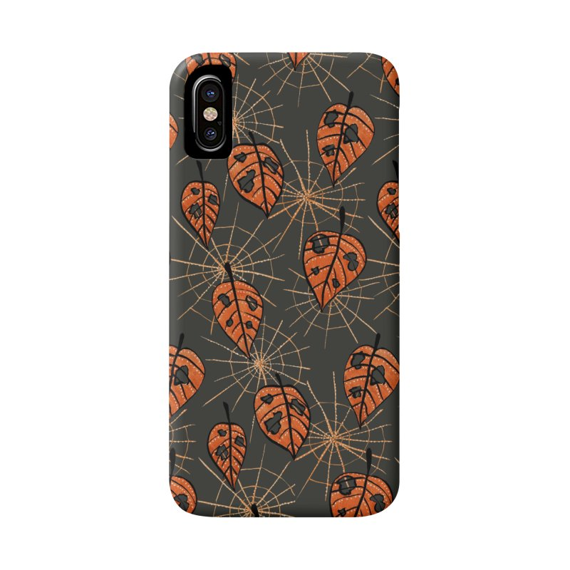 Orange Leaves With Holes And Spiderwebs Accessories Phone Case by Boriana's Artist Shop