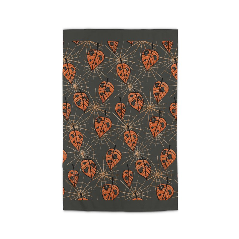 Orange Leaves With Holes And Spiderwebs Home Rug by Boriana's Artist Shop